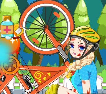 Play Elsa Bicycle Accident Doctor Game