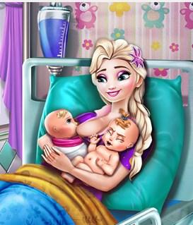 Play Elsa Mommy Twins Birth Game
