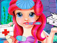Play Baby Ariel Treating Cold Game